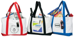 promotional tote bags in various colors